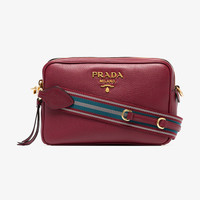 red double zip leather cross-body bag