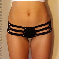 Black Crystal Cutout Bottoms
