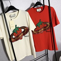 Gucci Tee Shirt Top Letter Print  Strawberry  Top Shirt Red Beige Two Color Optional