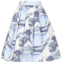 Foamy Print Pleated Mini Skirt