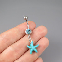 starfish belly button jewelry ring,turquoise starfish belly ring,lucky charm Belly Button Jewelry,summer jewelry,girlfriend gift