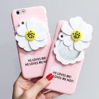 Cute Fresh 3D Flower Makeup Mirror Phone Case for iPhone 6 4.7''6s plus Elegant Protection Hard Back Cover Funda capa Shell