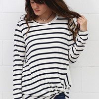 Striped Twisted Knot Long Sleeve {Navy+Ivory}