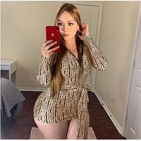 Fashion Women Bodycon Long Sleeve lace-up Dress brown