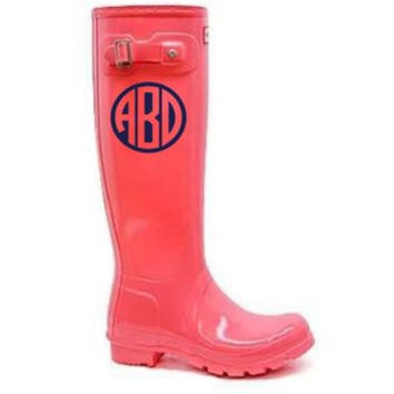 Rain Boots Monogram Decal - set of two
