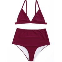 Fashionable hot sell pure color high-waisted swimsuit sexy two-piece suit bikini