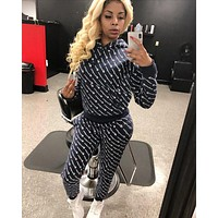 Champion Newest Women Casual Stylish Full Logo Print Hoodie Top Pants Trousers Set Two-Piece Sportswear Black
