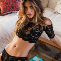 sexy lingerie hot black rose lace one word shoulder perspective erotic lingerie+sexy thongs lenceria sexy costumes