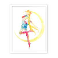 Original Watercolor Sailor Moon Pop Japanese Movie Anime Poster Prints Girl Hipster Abstract Wall Art Decor Canvas Painting Gift