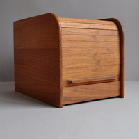 Teak Tambour Recipe File / Photo Box - Danish Modern