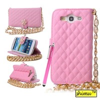 Galaxy s3 Case,Flip Pu Leather Rhinestone Shiny Camellia Button Wallet Case Card Slots Metal Chain Handbag Premium Phone Case By Shimu Fit For Samsung Galaxy s3 I9300 Pink