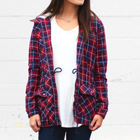 Let's Go Plaid Utility Jacket {Burgundy+Navy}