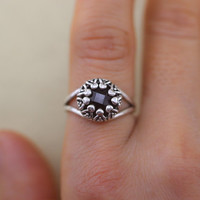 Retro Vintage Black crown bezel Big Rhinestone Stone  adjustable Ring