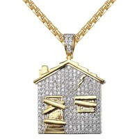 Men's Trap House 14k Gold Finish Iced Out Custom Pendant Chain