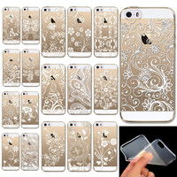 Luxury Henna mandala Flower Painted pattern Floral Paisley Soft Case Skin Coque Shell Cover for Apple iphone 5 5s 5/5s SE