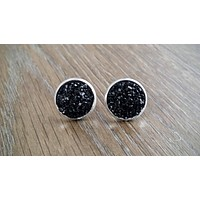 Druzy earrings- flat black drusy silver tone stud druzy earrings