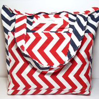 Large Summer Beach Bag - Made To Order - Chevron Nautical- Red White Blue - Reversible Beach Tote