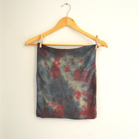 Tie Dye Stretch Knit Micro Mini Skirt Tube Top in Sage by SewRed