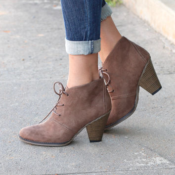 Shawna Lace Up Bootie {Taupe} - Size 8.5