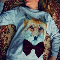 Fox Deep Red Velvet Bow Gray Jumper NOW ON SALE RRP £38 | Alice takes a trip