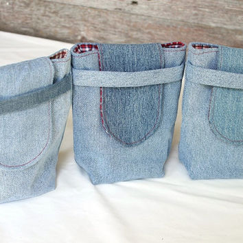Upcycled Denim Gift Bags Reusable  Red & Blue Small Gift Tote Vintage Plaid Rustic Americana Wrapping (set of 3) --US Shipping Included