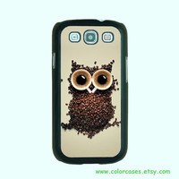 Samsung Galaxy S3 case --Owl Coffee, Samsung galaxy S3 case in plastic hard ,color in black or white or clear