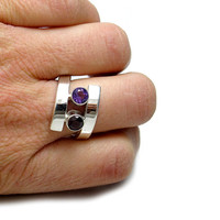 Wrap Ring - Amethyst Ring - Garnet Ring - Double Ring - Double Gemstone Ring - Red Purple Ring - Silver Gemstone Ring - Mother's Ring