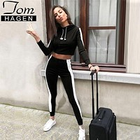2018 Autumn Women Two Piece Set Tracksuit Outfits Sport Suits Woman 2 Piece Pants Sets Women Striped Hoodies Sweatshirt Crop Top