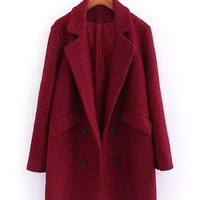 Red Double Breasted Pocket Design Coat