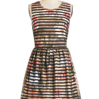 ModCloth Mid-length Sleeveless A-line Floral Flashback Dress in Stripes
