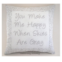 Cross Stitch Pillow Quote, Gray and White Pillow, Happy Quote