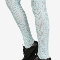 Knitted Knee High Socks - Baby Blue