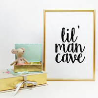 Lil Man Cave Print Boys Wall Art Nursery Prints Baby Boy Decor Mustache Art Boys Playroom Nursery Print Home decor Nursery Wall art