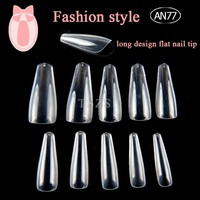 1bags/ lot Full Nails Coffin Shape Artificial French Fake super long Nail Tip Salon Transparent Fake Nails