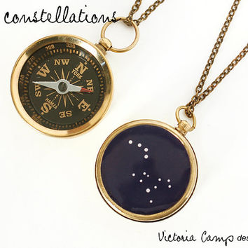 Personalized Constellation Working Compass Necklace - Choose TWO Constellations - Custom Zodiac, Anniversary Gift, Birthday, Astronomy