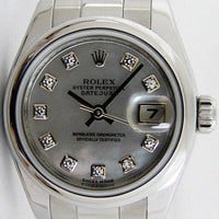 Rolex Lady Datejust Steel Mother Pearl Diamond Dial 179160 Oyster - WATCH CHEST