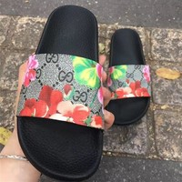 Gucci Fashion Women Men Casual Floral Print Sandal Slipper Shoes I
