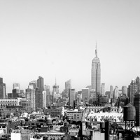 Black and White New York City Buildings Skyline Empire State Building NYC Rooftops Art Print Photography Architecture Industrial Home Decor