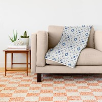 Acrylic Blue Square Dots Throw Blanket by Doucette Designs