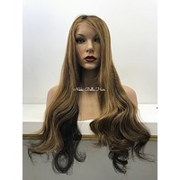 Highlighted Remy Human Hair Lace Front Wig - Cara