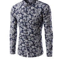 Casual Long Sleeve Allover Paisley Printed Men Shirt