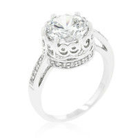 Vada Royal Crest Filigree Round CZ Ring | 4.5ct | Cubic Zirconia