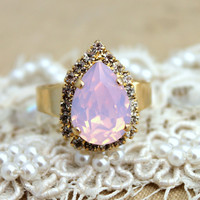 Opal Pink tear drop adjustable ring - 14 k plated gold adjustable ring real swarovski rhinestones.