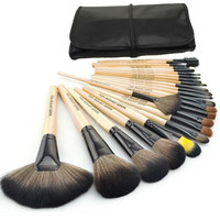 24 pcs Cosmetic Facial Make up Brush Kit Makeup Brushes Tools Set Black Leather Case = 1645783492