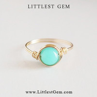 Tropic Blue Green Ring - unique rings - mint ring