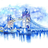 TOWER BRIDGE Art Print from Original Watercolor Illustration LONDON Love City Skyline Cityscape Painting Poster Blue