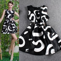 Black Printed Zip Waist Sleeveless Swing Mini Dress