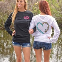 Heart Hook and Antler long sleeve sporty girl shirts