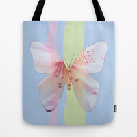 Butterfly pink azalea in pastel color stripes background. Floral botanical graphic art. Tote Bag by NatureMatters