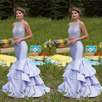 2017 Newest Lavender Mermaid Prom Dress Sheer Neck Sleeveless Beading Bodice Tiered Satin Two Piece Prom Gowns Formal Dress